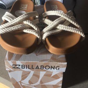 Brand NIB BILLABONG Rope Tide Cream Slides